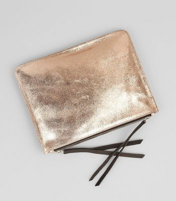 Rose Gold Leather Zip Top Cross Body Bag New Look