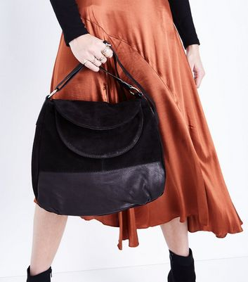 Black Suede Double Flap Front Bag New Look