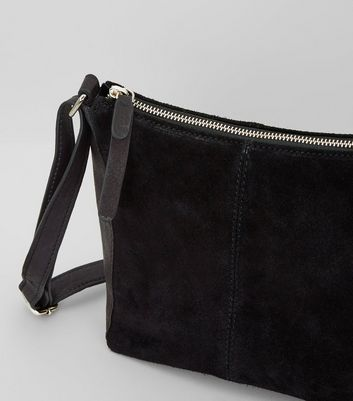 Black Suede Zip Top Shoulder Bag New Look
