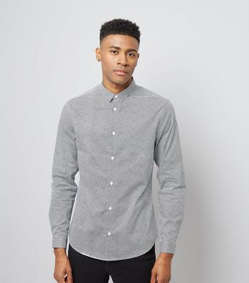 Pale Grey Printed Shirt New Look