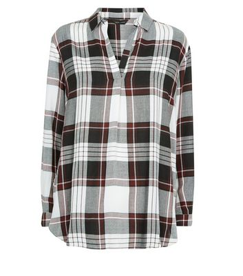 Black Contrast Check Print Shirt New Look