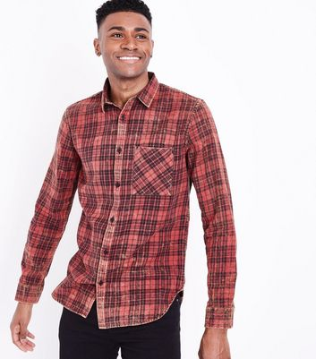 Red Acid Washed Check Print Shirt New Look