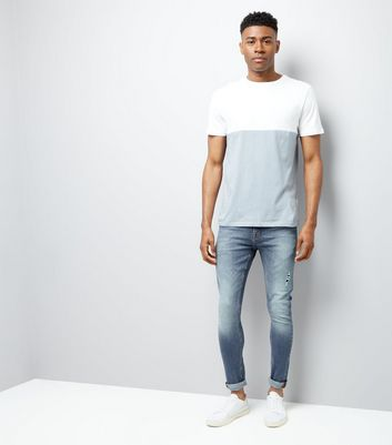 Pale Blue Colour Block T-Shirt New Look