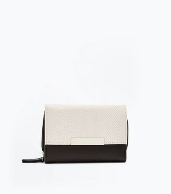Black Fold Over Front Zip Around Purse New Look