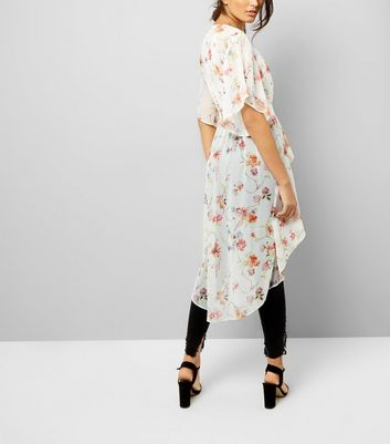 White Floral Print Dip Hem Kimono New Look