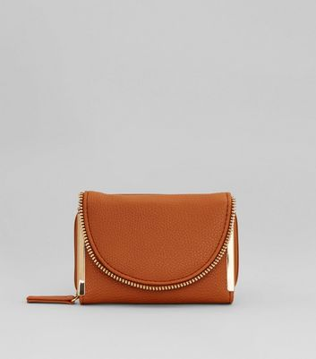 Tan and Gold Zip Around Purse New Look