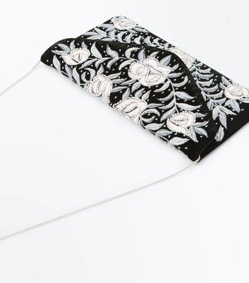 Black Floral Embroidered Beaded Clutch Bag New Look