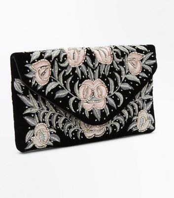 Black Floral Embellished Clutch Bag New Look