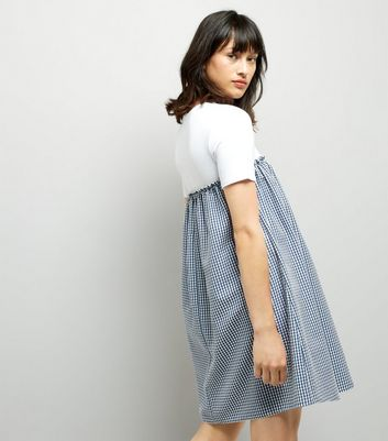 Blue Gingham 2 in 1 Dress New Look