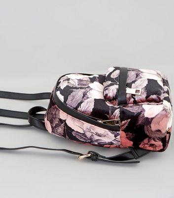 Pink Digital Floral Printed Velvet Mini Backpack New Look