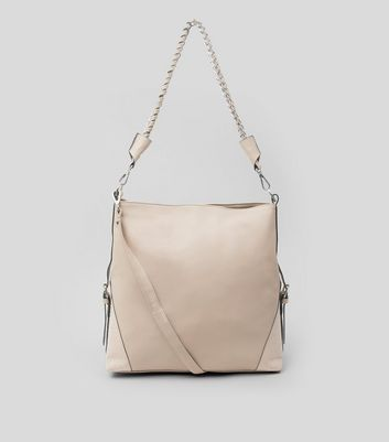 Cream Textured Oversized Shoulder Bag New Look
