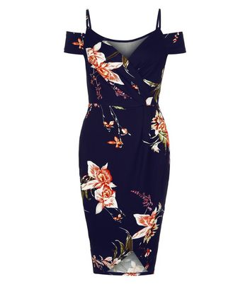 AX Paris Blue Floral Print Cold Shoulder Midi Dress New Look