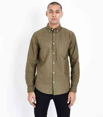 Khaki Long Sleeve Oxford Shirt