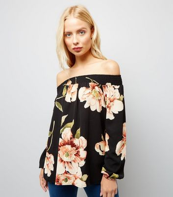 AX Paris Black Floral Print Bardot Neck Top New Look
