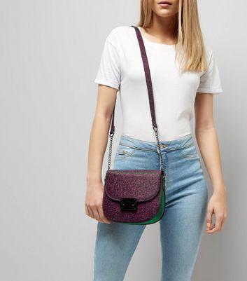 Purple Glitter Cross Body Bag New Look