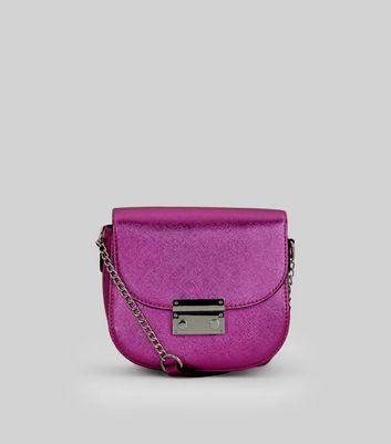 Pink Metallic Mini Cross Body Bag New Look