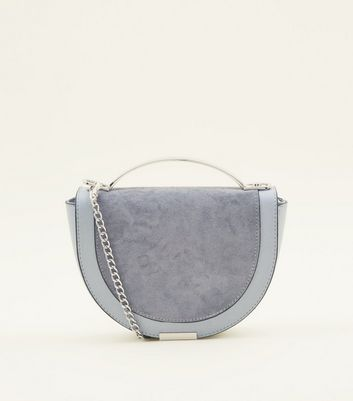 Pale Blue Curved Metal Handle Cross Body Bag