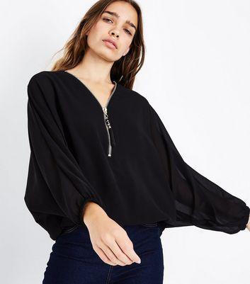 mela-black-zip-front-batwing-sleeve-top
