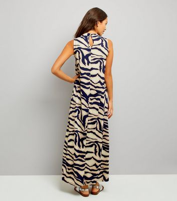 Mela Navy Abstract Print Maxi Dress New Look