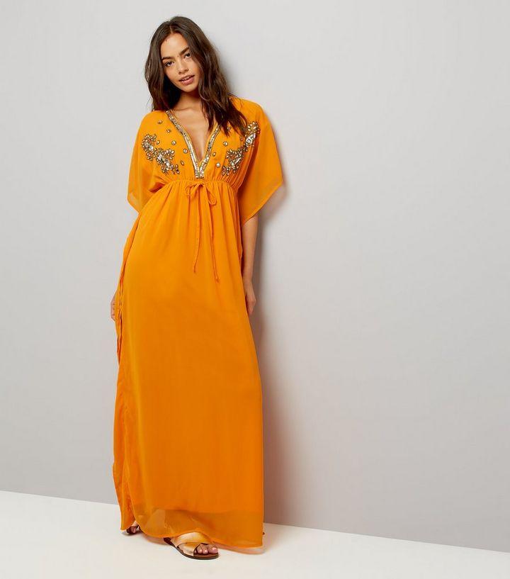 93da2194cbbb Mela Orange Embellished Kaftan Dress | New Look