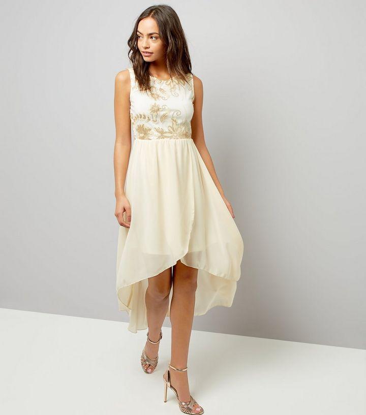 b2a53efa4fb Mela White Floral Embellished Dip Hem Dress