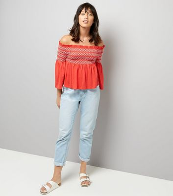 Red Contrast Shirred Panel Bardot Neck Top New Look