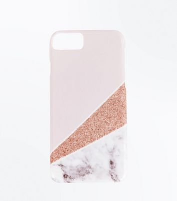 Pink Marble Glitter iPhone 6/7 Case New Look