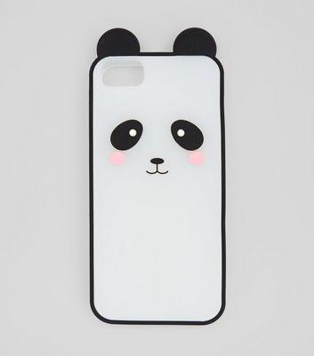 Black Silicone Panda iPhone Case New Look