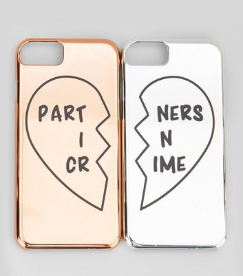 2 Pack Rose Gold and Silver Partners In Crime iPhone Cases New Look