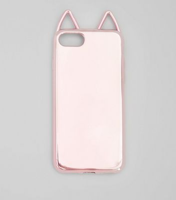 Pink Metallic Cat Ear iPhone Case New Look
