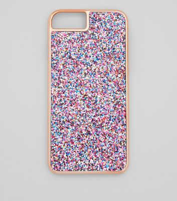 Rose Gold Glitter iPhone Case New Look