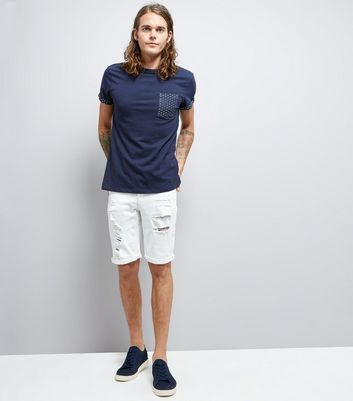 Navy Spot Print Pocket T-Shirt New Look