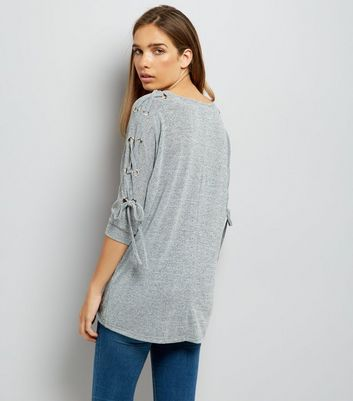 Grey Fine Knit Eyelet Lace Up Batwing Sleeve Top New Look