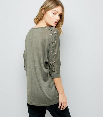 Khaki Fine Knit Eyelet Lace Up Batwing Sleeve Top New Look