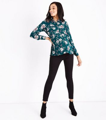 Maternity Dark Green Floral Shirt New Look