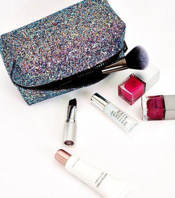 Purple Glitter Zip Around Make Up Bag New Look