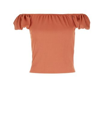 Light Brown Bardot Neck T-Shirt New Look