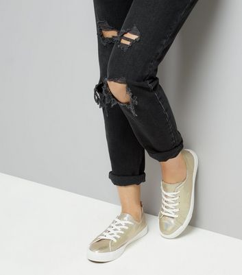 Gold Iridescent Lace Up Trainers New Look
