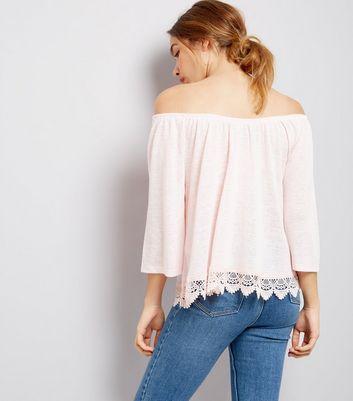 Pink Crochet Lace Trim Bardot Neck Top New Look