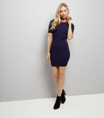 Navy Puff Sleeve Bodycon Dress New Look