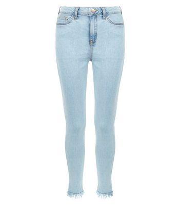 Teens Pale Blue Frayed Hem Skinny Jeans New Look