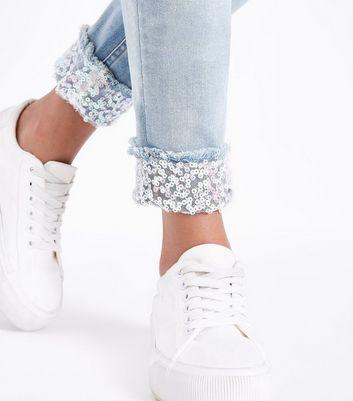 Teens Blue Ripped Sequin Turn Up Hem Skinny Jeans New Look