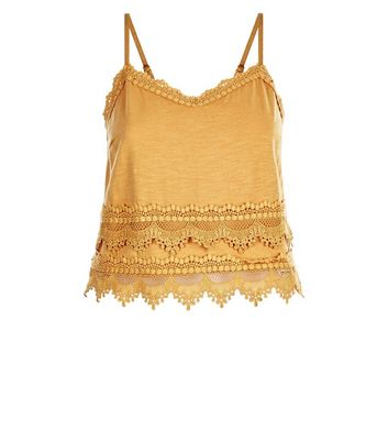 Yellow Lace Trim Jersey Cami New Look