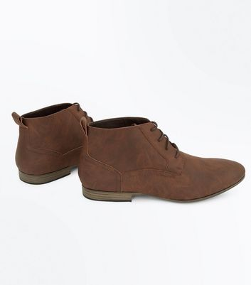 Dark Brown Lace Up Desert Boots New Look