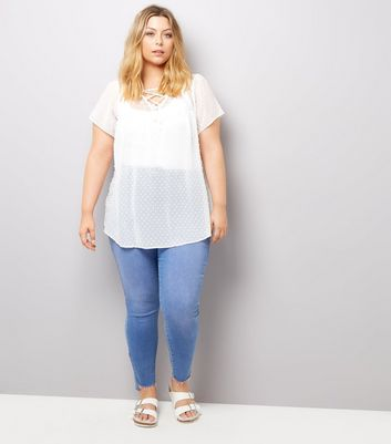 Curves Cream Lace Sheer Blouse New Look