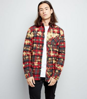 Red Check Acid Wash Shirt New Look