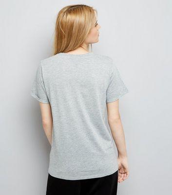 Grey Oversized Roll Sleeve T-Shirt New Look