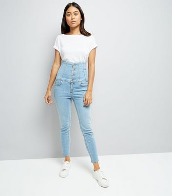 Petite Pale Blue High Waist Corset Jeans New Look