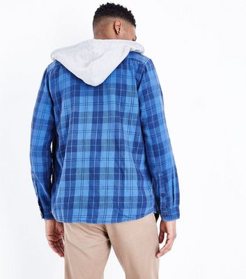 Blue Hooded Check Print Shirt New Look