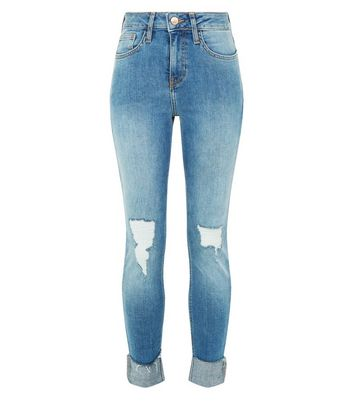 Petite Blue Ripped Turn Up Relaxed Skinny Jeans New Look
